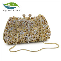 Mystic River Women Clutch Silver Gold Sale Price Crystal Evening Bag Women Wedding Party Bridal Purse
