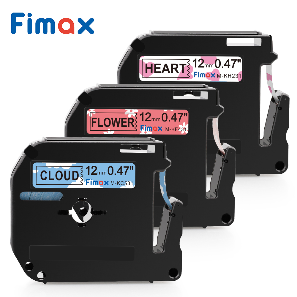 Fimax M-K231 Compatible For Brother P-touch M Type Label Tape MK231 M-K631 MK221 Brother P-touch Label Printer Pattern Ribbon