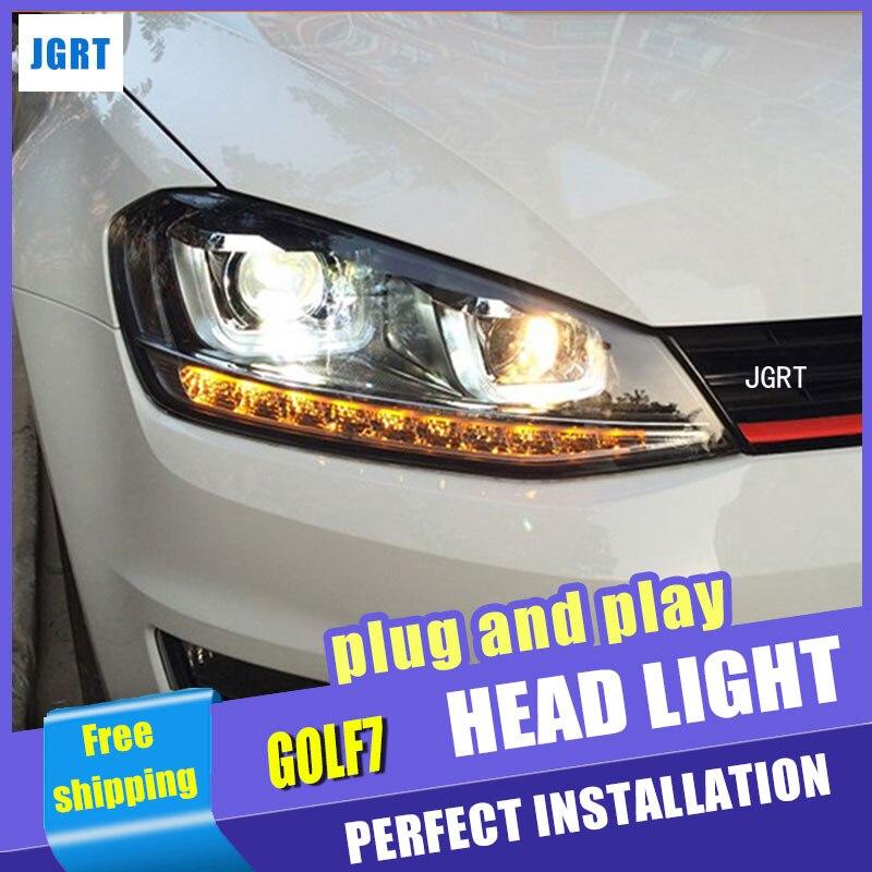 Стайлинга автомобилей для VW golf7 автомобиль фары Гольф 7 МК7 сборки LED объектив фар DRL двойным Луч H7 с HID комплект 2 шт.