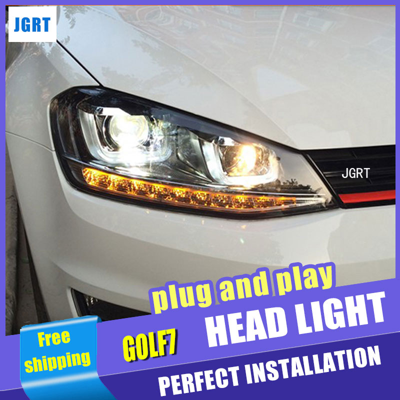 Car Styling for VW Golf7 Headlights Golf 7 MK7 LED Headlight DRL Lens Double Beam H7 HID Xenon bi xenon lens pair of headlight assembly for vw golf 5 suitable for halogen bulbs and led headlights
