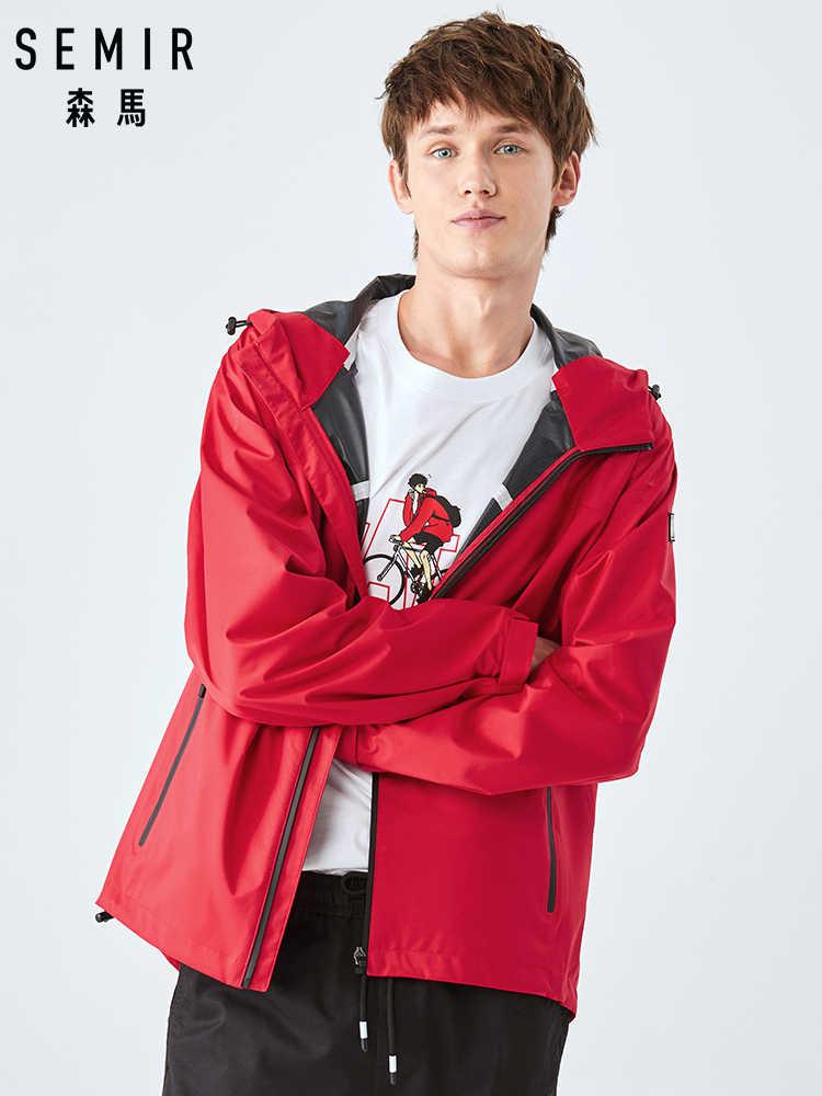 はsemirジャケット男性秋 2020 新和風カジュアルフード付きコート男性の若者の黒ジャケット男