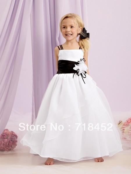 New 40 Flower Girl Dress Patterns White Organza Black Sashes Beauteous Flower Girl Dress Patterns