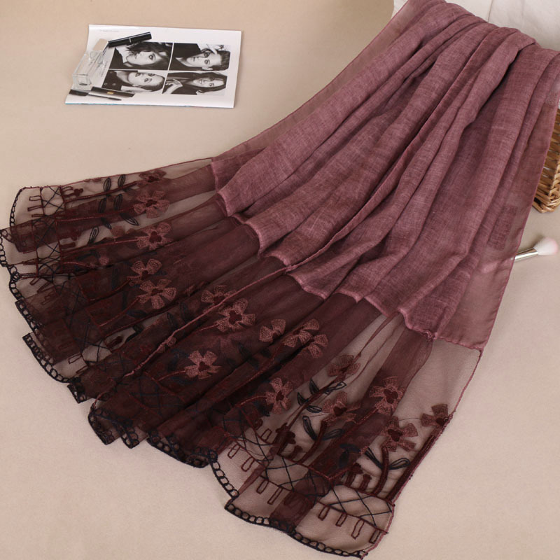 Lace Floral Patchwork Cotton Shawl Scarf Girls Fashion Spring Summer Design Long Soft Warm Pashmina Stole Muslim Hijab 200*95Cm