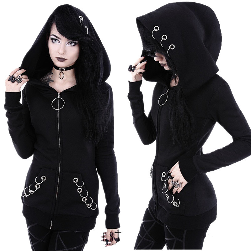 Women's Black Gram Long Sleeve Loose Hooded Hoop Hoodie  Harajuku  Cotton  Streetwear  Solid  Hoodies Women