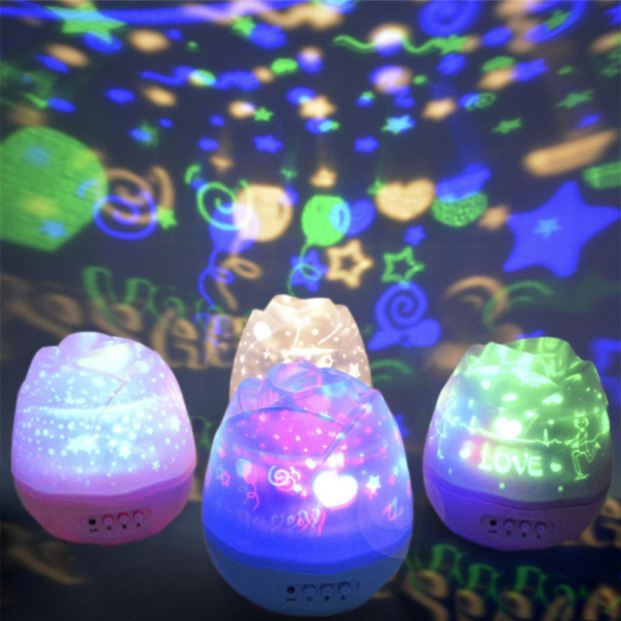 Four seasons star projector lamp - Romantic Rotating Colorful Star Moon Sky Projection Lamp Plug Electric And Battery Led Night Light Holiday