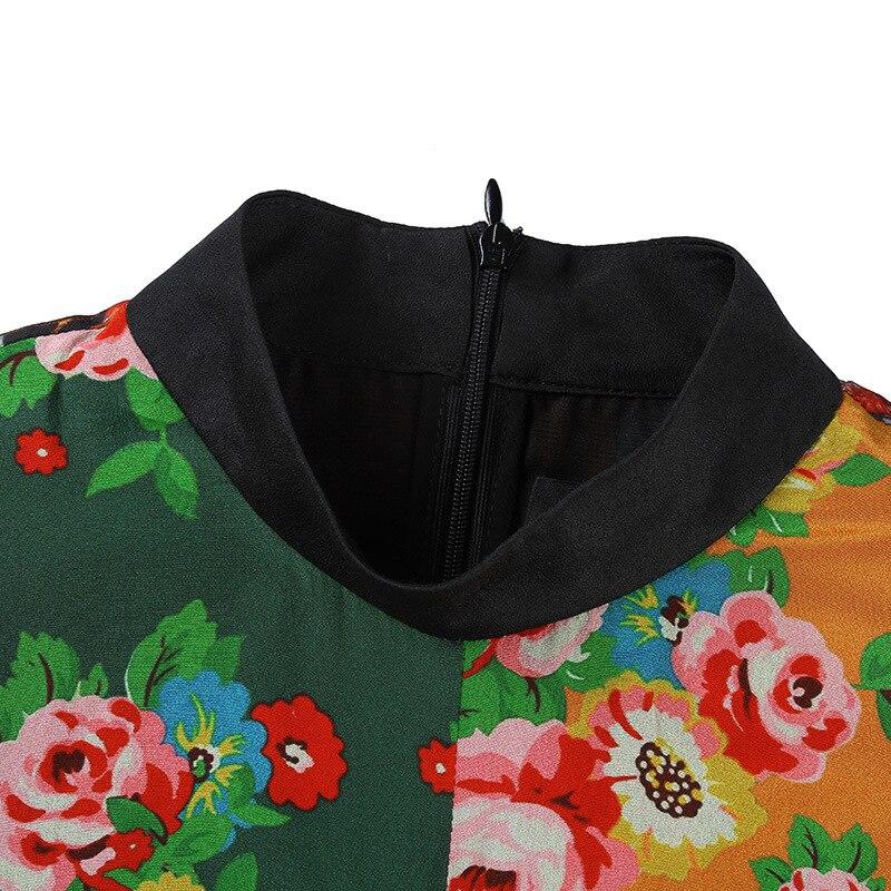 KAMIYING Stitching Autumn Dress Vintage Knee Length 100 Real Silk Flower Print Dresses Autumn Winter Vestidos PKHA027 in Dresses from Women 39 s Clothing
