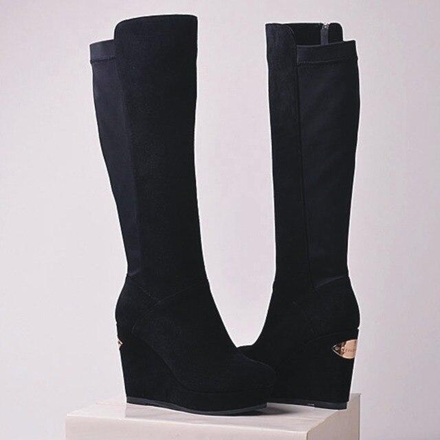 7d66bbf0caa28 Nuevas botas de cuero genuino de moda 2016 para mujer