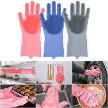 1 Pair Factory Price Household Silicone Dishwashing Gloves Kitchen Cleaning Washing Dishes Multifunctional Magic Glove