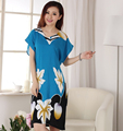 Brand New Women's Summer Cotton Nightdress Short Sleeve V-Neck Bath Robe Gown Print Flower Sleepwear Nightgown One Size NR216