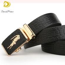 DavidPrince Men Belts Genuine Leather Luxury Designer Strap Male Belt for Man Automatic Crocodile Buckle Jeans Cintos Masculinos