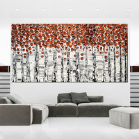 Hand Painted Landscape Abstract Palette Knife Copper Birch Oil Painting Canvas Home Wall Living Room Artwork Fine Art