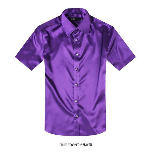 Tamanho grande dos homens da marca de verão curto-luva de seda cor sólida dos homens camisa a tendência faux seda camisa casual camisa slim fit masculina