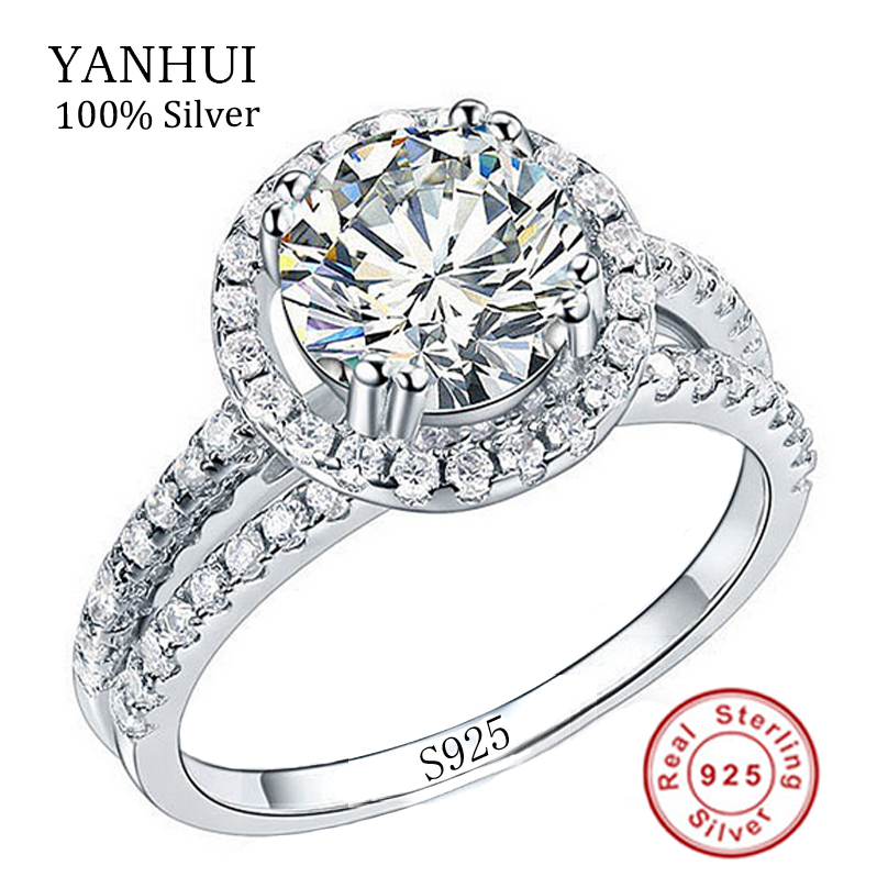 Real 100% 925 Sterling Silver Rings Set 2 Carat Simulation Diamant Wedding  Rings For Women RING SIZE 4 5 6 7 8 9 10 11 YR510 In Rings From Jewelry ...