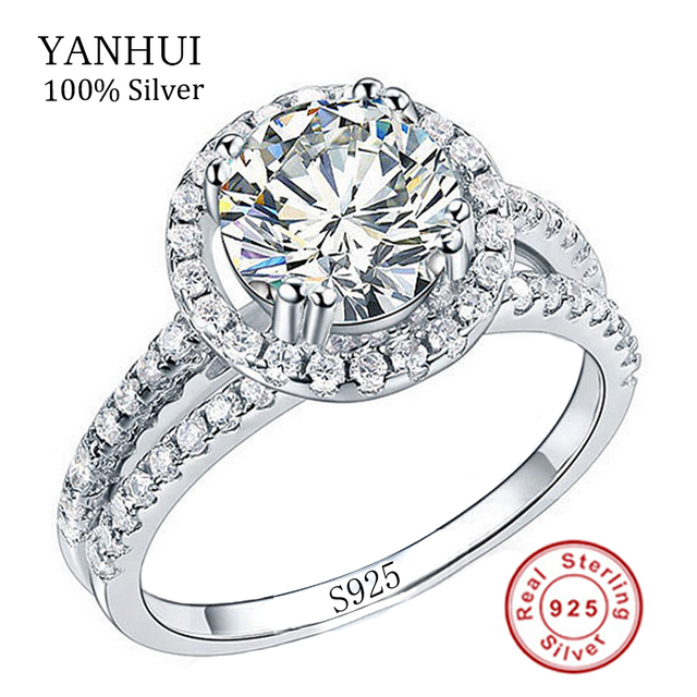 Real 100% 925 Sterling Silver Rings Set 2 Carat Simulation Diamant Wedding Rings For Women RING SIZE 4 5 6 7 8 9 10 11 YR510