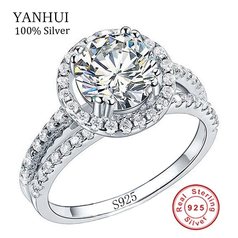 Real 100% 925 Sterling Zilveren Ringen Set 2 Carat Simulatie Diamant Trouwringen voor Vrouwen RING MAAT 4 5 6 7 8 9 10 11 YR510