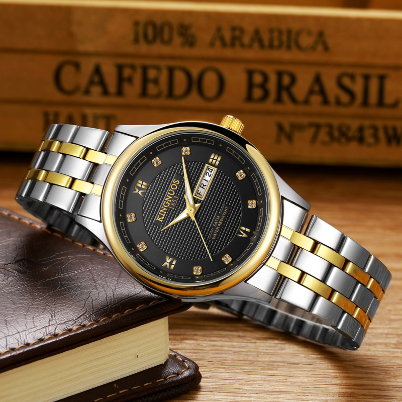 Gold Quartz Watch Men Top Brand Luxury Famous Golden Stainless Steel Wrist Watch Male Clock Men Hodinky Relogio Masculino Relog chenxi men gold watch male stainless steel quartz golden men s wristwatches for man top brand luxury quartz watches gift clock