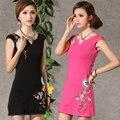 Women Fashion Elegant Slim Chinese Dress Flower Embroidery Cheongsam QiPao V Neck Cotton Summer Women Short Dresses