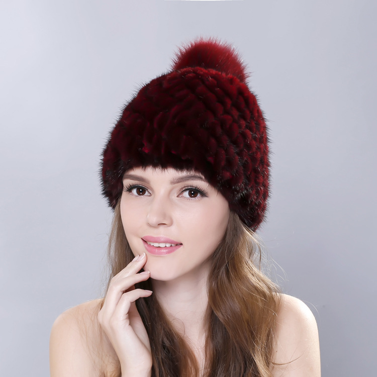 Hot sale real mink fur hat for women winter knitted mink fur beanies cap with fox fur pom poms 2017 brand new thick female cap real mink fur hat for women winter knitted mink fur beanies cap fox fur pom poms brand new thick female cap