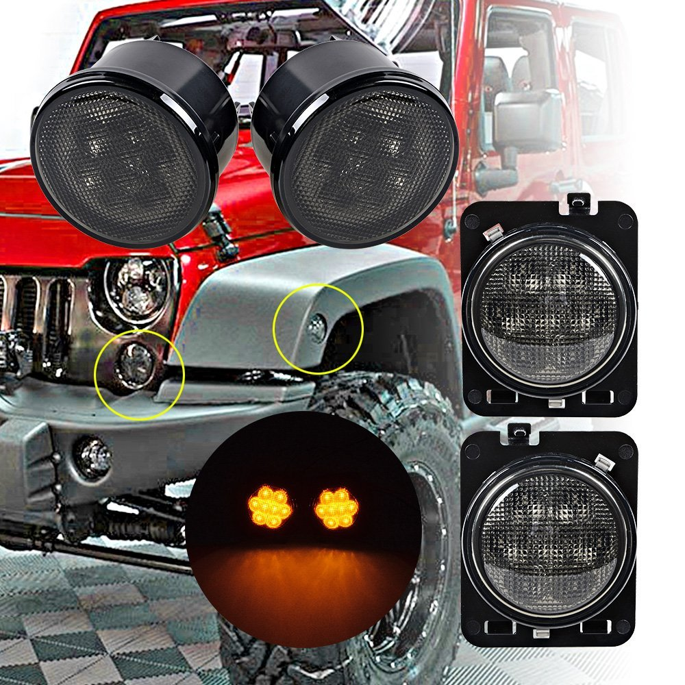 Smoke Front Turn Signal Led Lights for 07-17 Jeep Wrangler JK & Wrangler Unlimited for jeep wrangler jk anti rust hard steel front