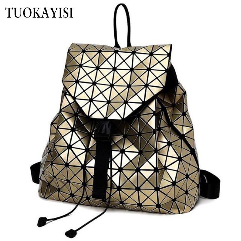 color Laser Geometri Plaid Lingge backpack Folding Shoulder Bag Teenager Girls travel schoolbag For Women s