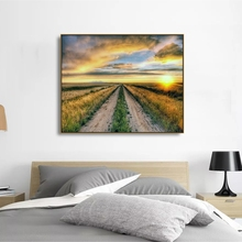 Laeacco Posters and Prints Farmland Sunrise Wall Artwork Canvas Calligraphy Painting Home Decoration Living Room Decor