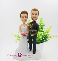2019 AMAZING CAKE TOPPER Military uniform and simple bridal gownToys Custom Polymer Clay Figure From Pictures
