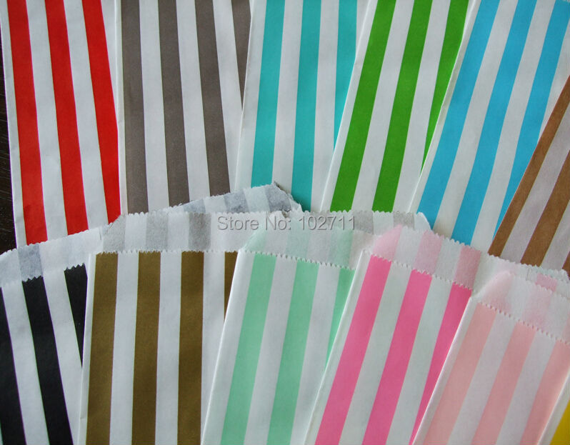 Thin Candy Striped Gift Bags Flat 5x7 Red Yellow Hot Pink Black Blue Mint Green Gold Silver Brown Kraft Paper Favor In Wring Supplies