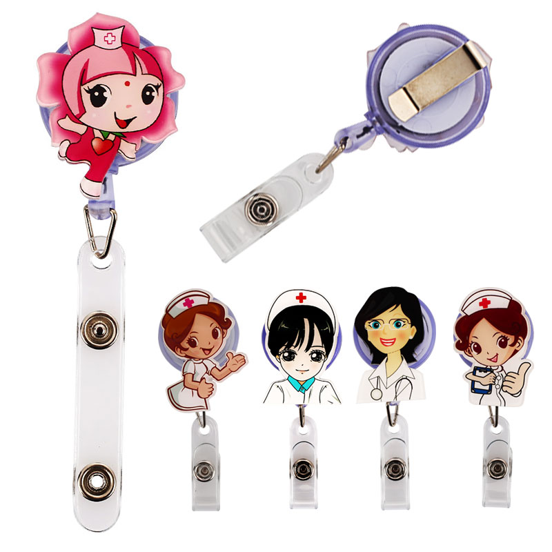 Cobee Cute Retractable Badge Holder Reel Student Nurse Exhibition ID Enfermera Name Card Badge Holder Office Stationery Supply