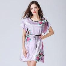 Lady Summer Silk Nightgown O Neck Women Sleepwear Sexy Lace Robes Satin  Nightgown Silk Nightwear Sleepdress a0ae84de2983