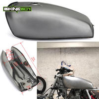 9L 2.4 Gallon Full Set Universal Steel Cafe Racer Vintage Classic Filler Gas Fuel Tank with Cap & Keys & Petcock Value Swith