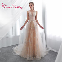 iLoveWedding 2018 Jewel Collar High Quality Lace A Line Bridal Gown Sleeveless Sexy Back Elegant Beach Vintage Wedding Dress