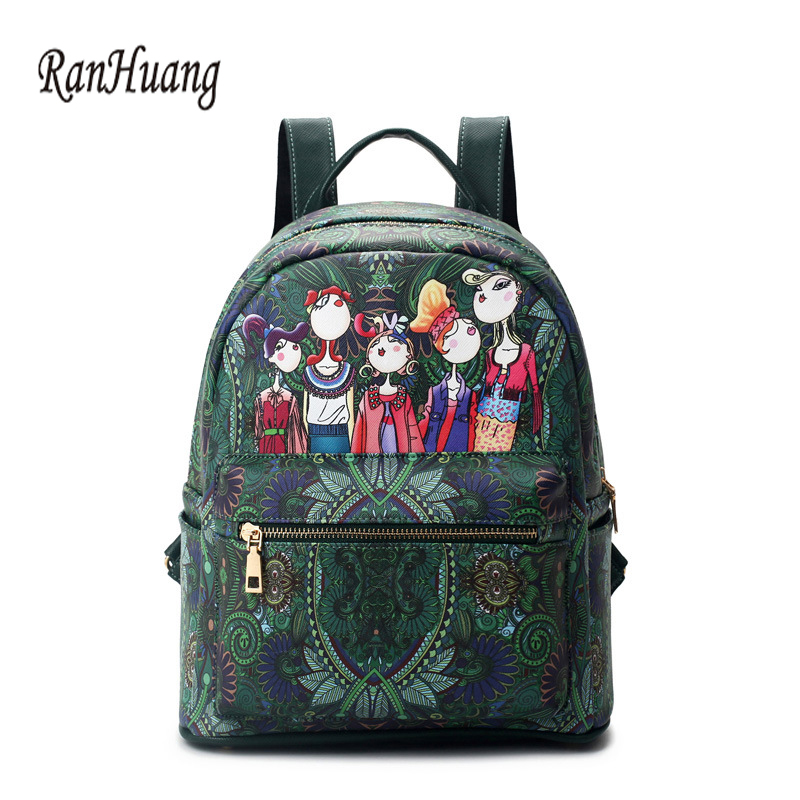 RanHuang Women Fashion Backpack Flower Printing Rucksack New 2017 Women s PU Leather Backpack School Bags