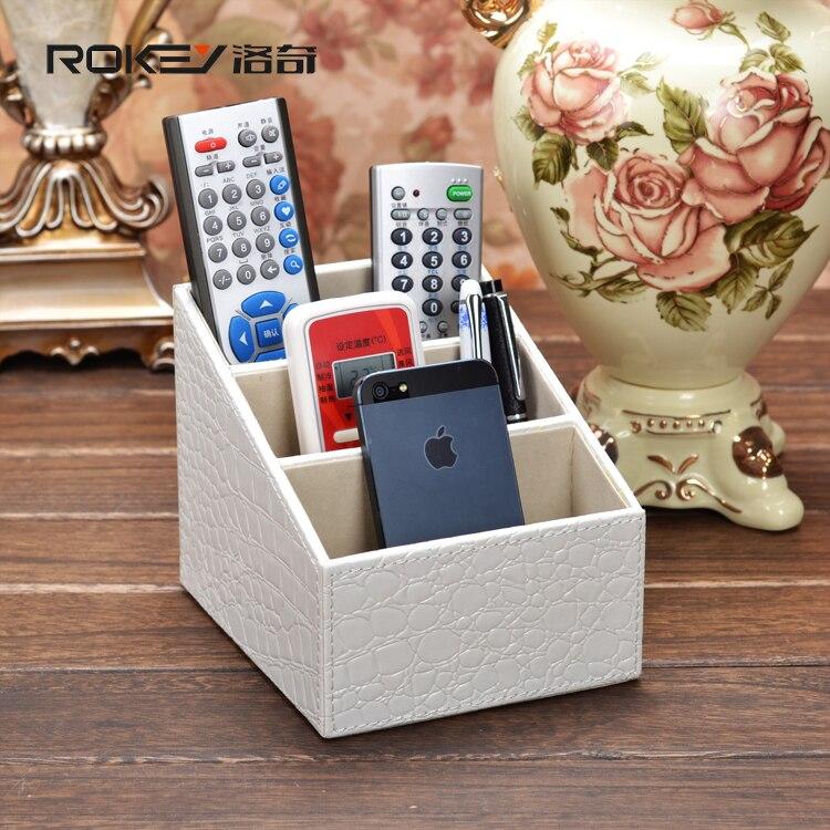 Rocky blanc crocodile bureau télécommande boîte de rangement boîte de rangement créative mode européenne rural mettre le téléphone
