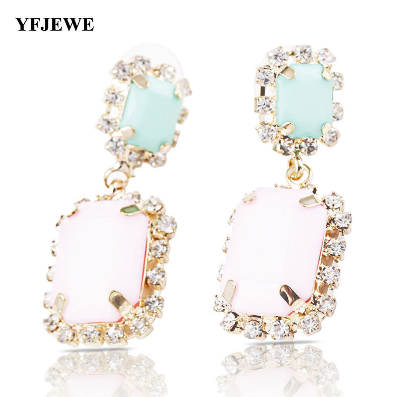 YFJEWE Top Quality Women Fashion Square Acrylic Pink Earring Vintage Lady s  Green  Pink Earrings Woman Party 5a3c278dd268