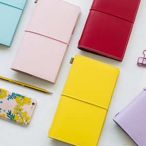 Image 2 - Heißer Vintage Makronen Reisende Notebook Echtes Regeneriert Leder Schule Persönliche Milch Notebook Agenda Planer Reise Journal