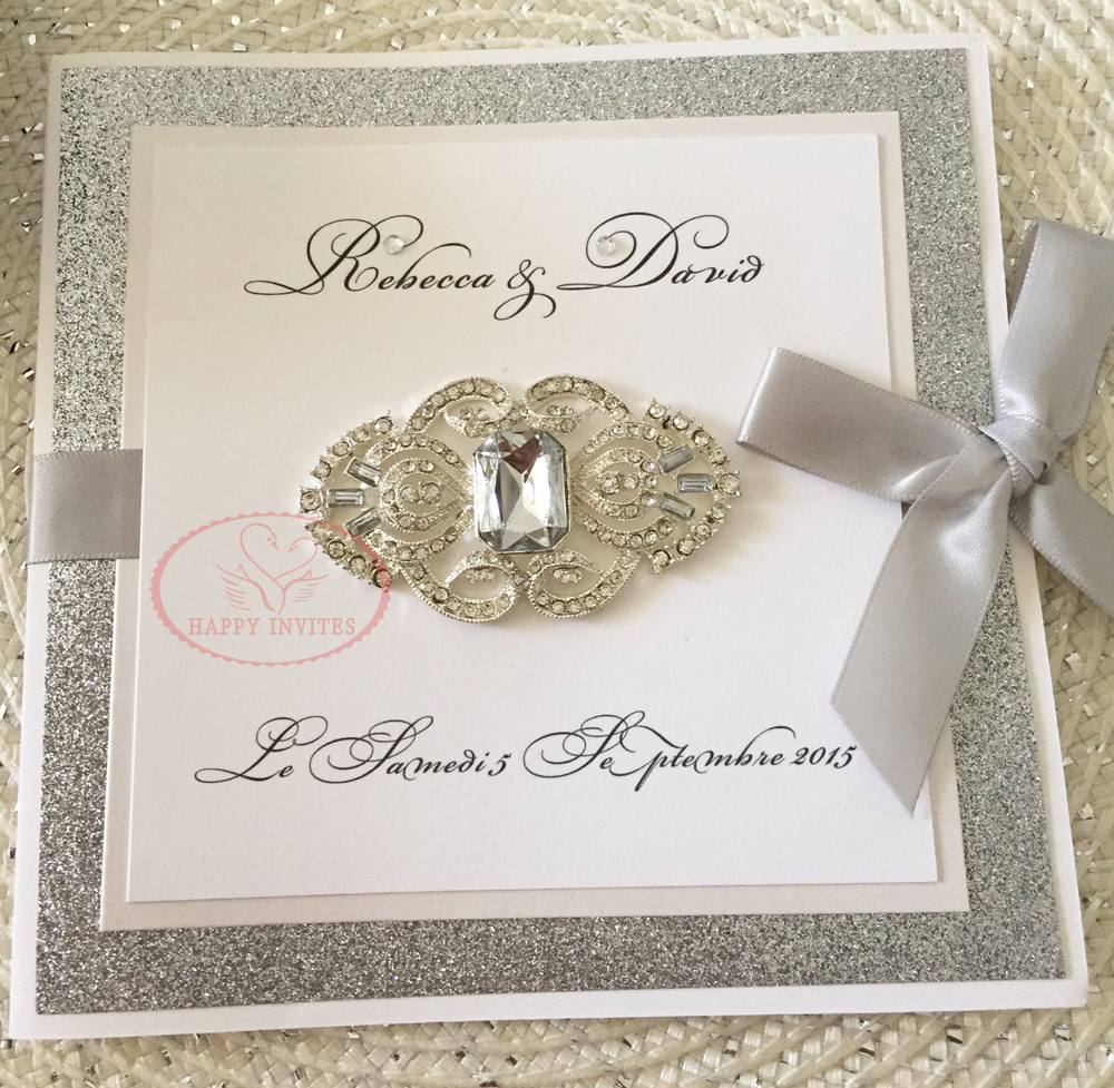 wedding with ribbon detail pebble fold product embossed sample pearl gate paper invitation brooch