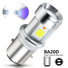 1pc BA20D LED Motorcycle Headlight Lens Bulbs 18W High Power COB chip High/Low Beam White + Blue Motorbike Scooter Light 9-18V