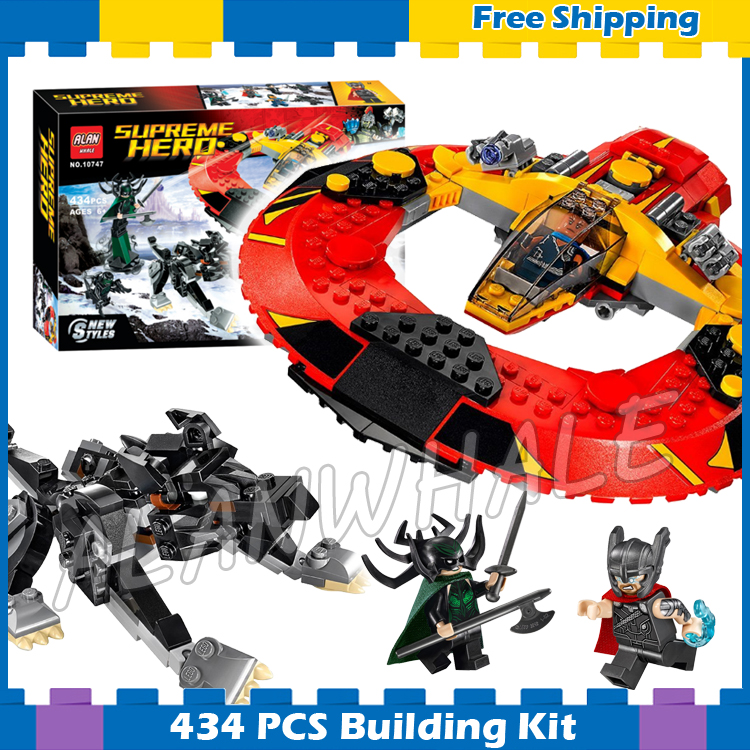 434pcs Super Heroes Thor Ragnarok The Ultimate Battle For Asgard 10747 Model Building Block Movie Gifts Set Compatible With lego ultimate comics new ultimates thor reborn