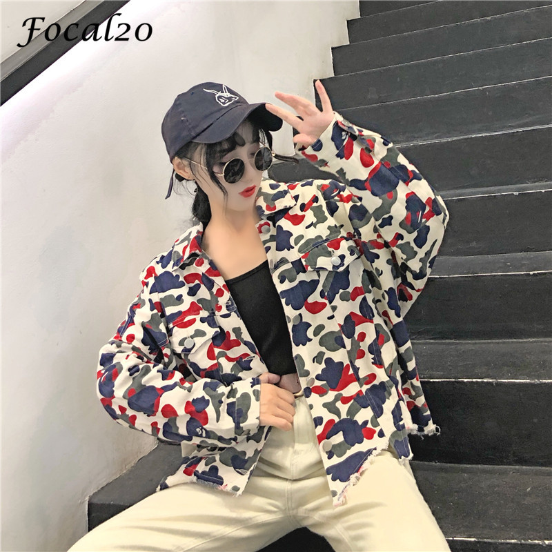 Focal20 Streetwear Camouflage Tassels Ripped Women Jacket Jeans Pockets Turn Down Collar Button Denim Jacket Coat Outwear 1
