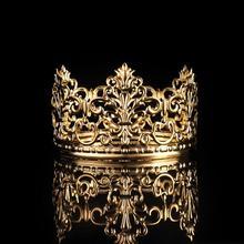 1PC Tiara Gold Color Crown Cake Topper Decoration Decorative Elegant Wedding Cake Princess Birthday Decoratio Party Supplies A3