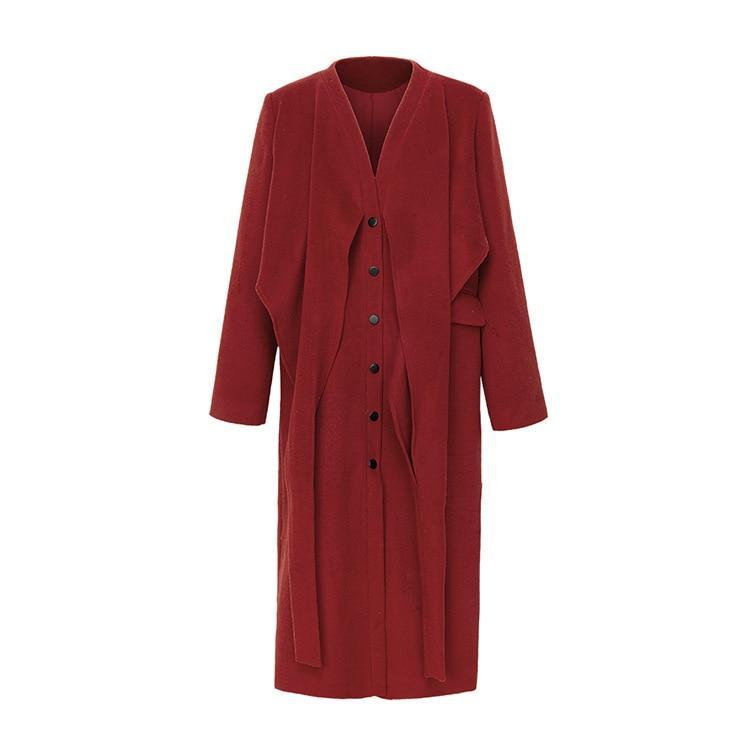 longueur Pour Laine Hiver style New European Vestes Femmes lié Long Long Manteaux American 2019 De Taille Vêtements Automne BHwxxaR