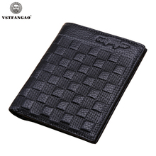 2015 New Fashion Plaid Men's Wallet Black Genuine Leather Men Wallets Short Design Casual Purse Soft Card Holder Men Wallet