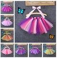 Bebé caliente de Los Cabritos Faldas 0-8Y Niños ropa de los Bebés Del Bowknot Del ARCO IRIS Tutu Falda de Baile Partido de La Princesa Ropa de Colores