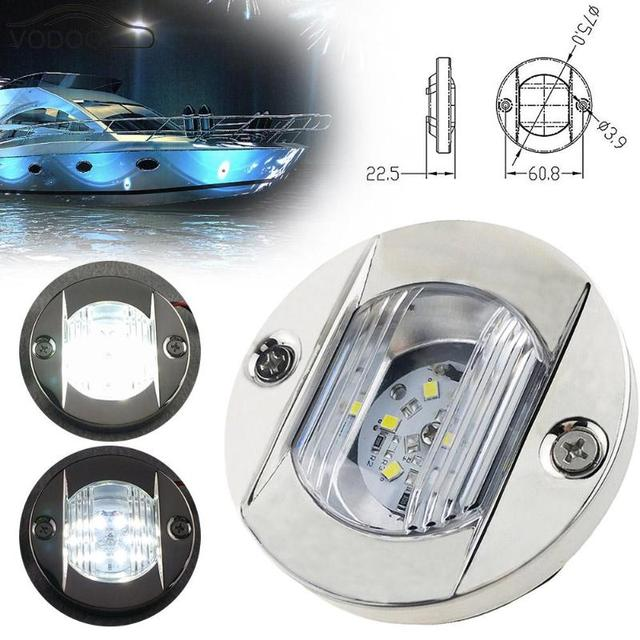 DC 12V Marine Boat Transom LED Stern Light Round Stainless Steel Cold White LED Tail Lamp Taillight Yacht Accessories