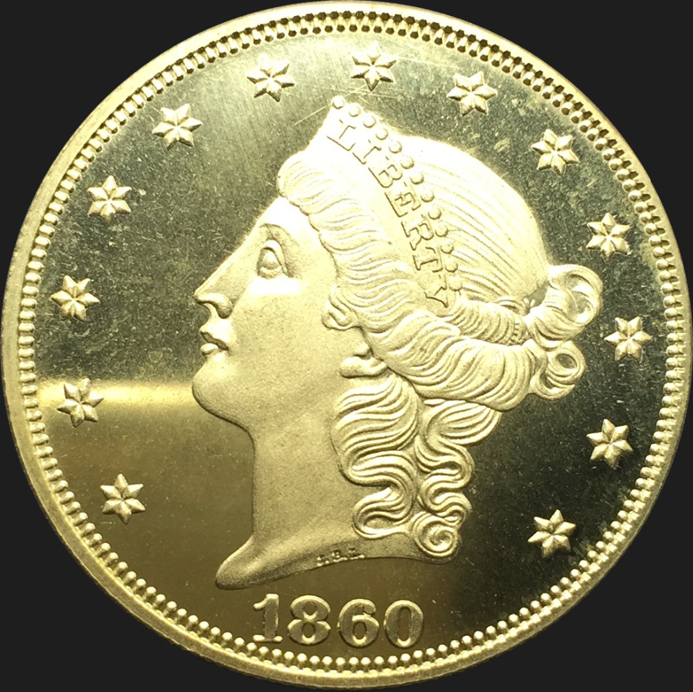 United Stated 1860 1860 O 1860 S Liberty Head Gold coins Value Twenty Dollars Brass Copy Coin