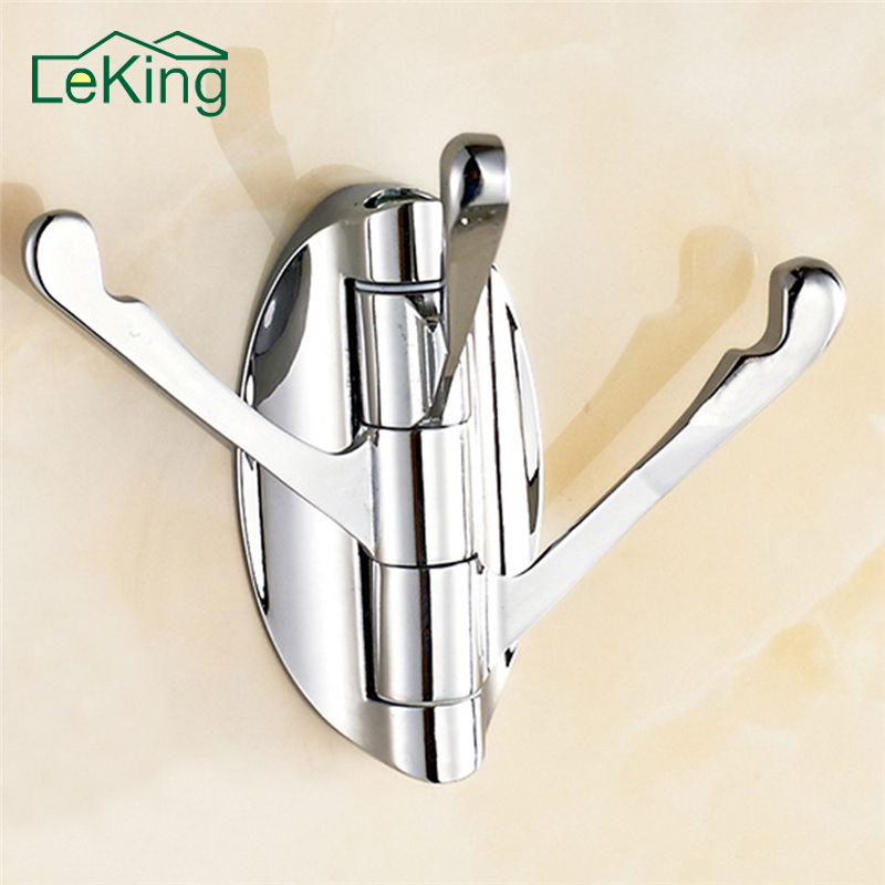 LeKing 180 Degree Rotation Bathroom Kitchen Adjustable 3 Hooks Bath Towel Coat Hat Hanger Cloth Hangers Bag Key Hanging Hook