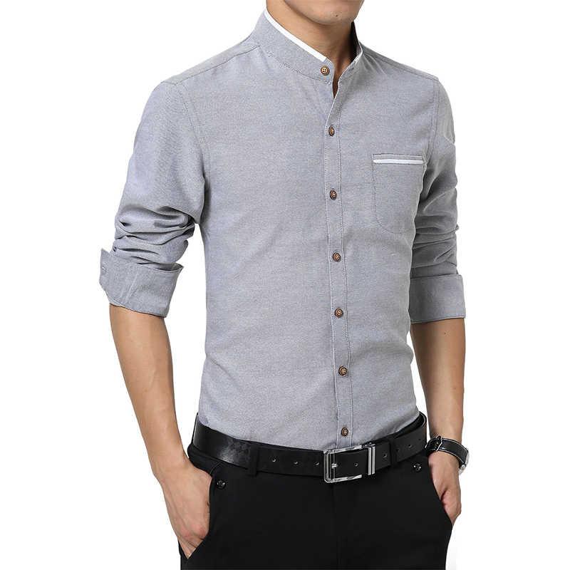 Nowe męskie z długim rękawem stoją koszule kołnierzykowe Slim dopasowana sukienka koszula mężczyzna koreański chiński styl ubrania społeczna Casual solidna koszula Tuxedo