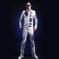 Для мужчин; Одежда для танцев шоу на сцене куртка patns Зеркала яркий мужской моды пространство Костюмы костюм DS белый из лакированной кожи ко