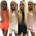 Women Summer Pure Color Casual Back V Neck T-Shirts Short Pants Two Piece Suit