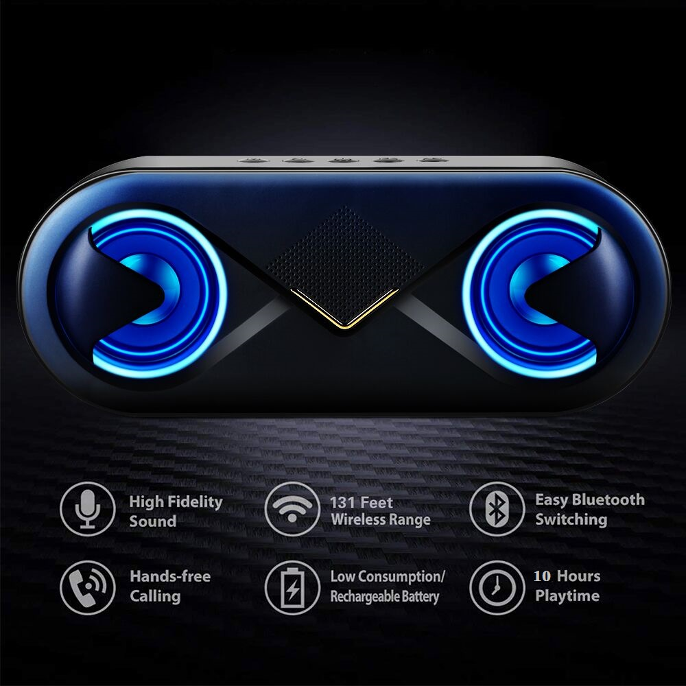 Image 2 - TOPROAD Portable Bluetooth 5.0 Speakers 10W Wireless Stereo Bass Hifi Speaker Support TF card AUX USB Handsfree with Flash LED-in Portable Speakers from Consumer Electronics